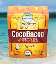 CocoBacon ® vegan organic coconut bacon front Coconut Bacon, Organic Fruit, Fruits And Veggies, Superfood, Gluten, Snacks, Vegan, Healthy, Eating Clean