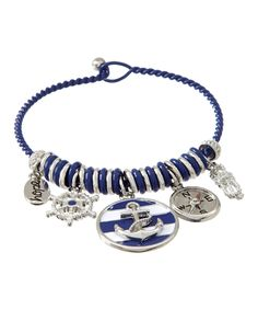 Blue & Silvertone Nautical Stripe Bracelet by LCO Jewelry