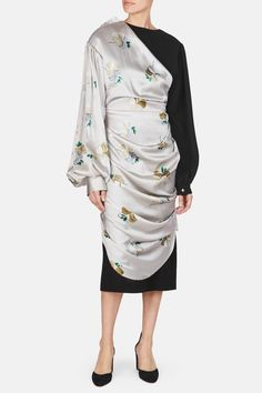 Loewe, Draped Floral Satin Dress - Light Grey | The Line