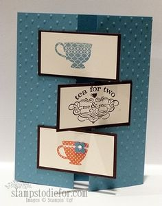 Tea Shoppe Another Cup  Stamps: Tea Shoppe  Paper: Marina Mist, Early Espresso and Very Vanilla  Ink: Marina Mist, Early Espresso and Calypso Coral  Accessories: 4 petal flower from the Punch Pack , Jewels Rhinestones, Perfect Polka Dots Embossing Folder