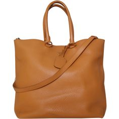 Pre-owned Prada Leather Shoulder Tote Handbag (685 CAD) ❤ liked on Polyvore featuring bags, handbags, tote bags, brown, prada tote, brown tote, beige leather tote, leather handbags and handbags totes