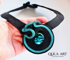 Laughs chrysocolla in the braid. Soutache necklace. by QlkaArt