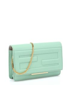 Fendi : mint green leather 'Macro' tubed logo convertible shoulder bag : style # 363300801