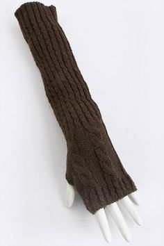 Taking Knit Easy Fingerless Gloves in BrownLong - Measurements: 13 inches, stretches Price: Was $10.99 Sale! $5.99