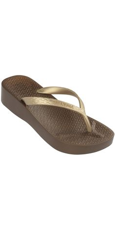 90c26822ae2dd iPanema 2014 Tropical Wedge Bronze and Gold Flip Flop. M Comeau · Shoes