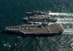 """USS Carl Vinson CVN-70, USS Bunker Hill, USNS Bridge - 5"""" x 7"""" Photograph"""