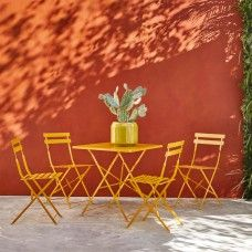 Perfect for smaller outdoor spaces, the Parc seater yellow square folding garden table is a timeless design made from powder-coated steel. Buy now at Habitat UK. Outdoor Tables And Chairs, Garden Table And Chairs, Outdoor Dining, Outdoor Furniture Sets, Outdoor Decor, Small Garden Table, Garden Furniture Design, Small Outdoor Spaces, Timeless Design