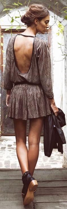 Chic In The City 2 - Goddess Of Babylon Bronze Open Back Skater Dress- ♔LadyLuxury♔