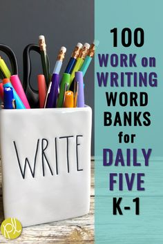 "Do you have your emerging writers ""Work on Writing"" centers during Guided Reading Daily 5? Here's a picture-perfect set of story writing word banks for your students! There are 100 pictures (quarter-page) with colorful visuals and word banks featuring high-interest characters and topics. #writingcenters #wordbanks #workonwriting #dailyfive"
