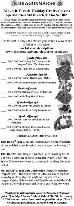 We still have a few weekends of Make-It Take It classes coming up! For full description see our events on Facebook or classesatdragonmarsh.com/instoreclasses