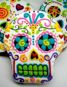 Awesome cookies at a Day of the Dead Halloween party! See more party planning ideas at CatchMyParty.com!
