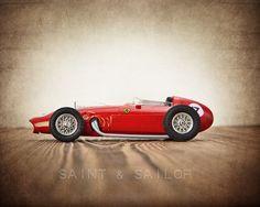 Red Ferrari Vintage Race Car, One Photo Print, Boys Room decor, Vintage Car Prints on Etsy, $20.00