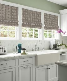 Flat Roman Fabric Shades In Quatro Embroidery Gray 14397 This Kitchen Smithandle