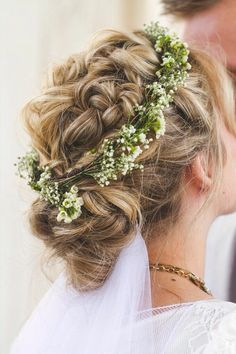 Boho Braided twisted and fishtail wedding up do with baby's breath flower crown