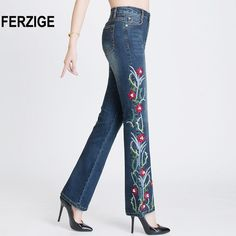 414a4757558e FERZIGE Women Jeans with Embroidery High Waist Stretch Embroidered Flares  Bell Bottoms Beads Pleated Denim Pants Mujer Feminino