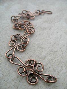 Copper Bracelet Handcrafted Chain Rustic Copper por ZorroPlateado