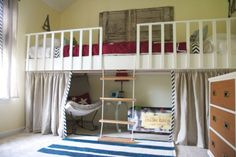 I came across this super fun idea from The Handmade Home- It's a double-long bunk loft bed! Two Mattresses, two kids, one long loft.what kid wouldn't think that is awesome? Handmade Home, Cool Loft Beds, Casa Kids, Bunk Bed Designs, Murphy Bed Plans, Kids Bunk Beds, Lofted Beds, Playroom Design, Loft Playroom