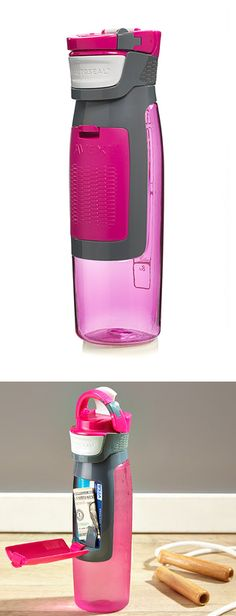 Kangaroo Water Bottle - convenient built-in compartment to hold keys and cards