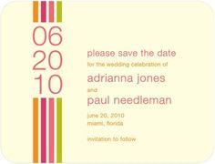 Signature Ecru Save the Date Cards Striped Column - Front : Medium Pink