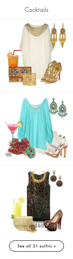 """""""Cocktails"""" by outfits-de-moda2 ❤ liked on Polyvore featuring Marchesa, Tory Burch, Dolce&Gabbana, Ben-Amun, Isharya, Alice + Olivia, Mary Frances Accessories, Kate Spade, Kite and Butterfly and Christian Louboutin"""