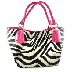 Black Large Vicky Zebra Print Faux Leather Satchel Bag Handbag Purse Pink --- http://www.pinterest.com.tocool.in/.0