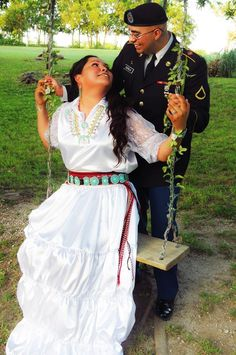 Navajo Wedding ideas with a few tweaks, loving my husbands uniform! Native American Wedding, Native American Images, Native American Clothing, Native American Regalia, Native American Beauty, African American Weddings, American Jewelry, American History, Navajo Clothing