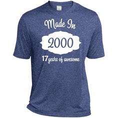 17th Birthday Gifts Made 2000 16 Years of Awesome Ladies-01 ST360 Sport-Tek Heather Dri-Fit Moisture-Wicking T-Shirt
