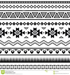 Illustration of Aztec mexican seamless pattern vector art, clipart and stock vectors. Border Pattern, Border Design, Pattern Design, Triangle Pattern, Geometric Pattern Tattoo, Pattern Tattoos, Abstract Pattern, Mandala Pattern, Vector Shapes