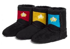 These Star Trek TNG Uniform Boot Slippers are what you wear on away missions to cold planets. These boots will keep your feet warm in space or on the ground.  Each features a metallic embroidered communicator badge & rank pips. Make it so? Mo, make it snow. Because you are covered.