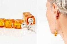 Shiny amber cube beaded earrings honey amber amber by AnnaBujak