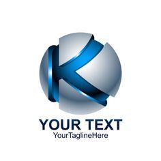 Initial Letter K Logo Template Colored Blue Grey Circle Sphere S Logo Design, Logo Design Template, Lettering Design, Logo Templates, Initial Logo, Initial Letters, Letter Logo, Dj Logo, Carta Logo