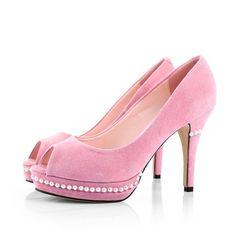 Pink suede peep toe heels w/ pearls