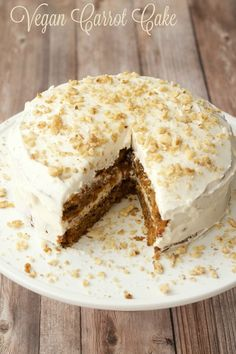 Moist, rich vegan carrot cake with a wholesome flavor and gorgeous color. Topped with lemon buttercream frosting and crushed walnuts.