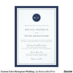 Custom Color Monogram Wedding Invitation