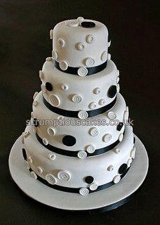 Wedding Cake (694) - Black & White Buttons by Scrumptious Cakes (Paula-Jane), via Flickr