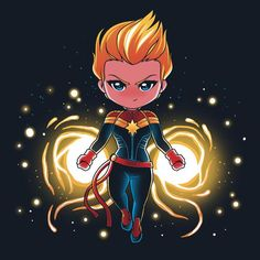 Captain Marvel is Earth's mightiest hero! Get the Captain Marvel t-shirt only at… Marvel Comics, Marvel Avengers, Chibi Marvel, Avengers Cartoon, Marvel Cartoons, Marvel Films, Marvel Fan, Marvel Heroes, Chibi Characters
