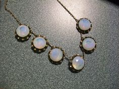 Art Deco Sterling Open Back Necklace with Opalescent Opaline Stones Flashes Fire | eBay