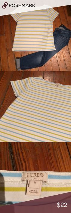 J. CREW STRIPED T-SHIRT Very nice green white and blue striped tee in excellent condition!! Adorable and can be dressed up or down!! J. Crew Tops Tees - Short Sleeve