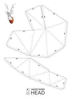 Papercraft deer head 1 printable DIY template by WastePaperHead