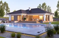 Nela V - Dobre Domy Flak & Abramowicz Modern Bungalow Exterior, Modern Brick House, Modern Bungalow House, Bungalow House Plans, House Plans Mansion, Dream House Plans, Beautiful House Plans, Beautiful Homes, House Outside Design