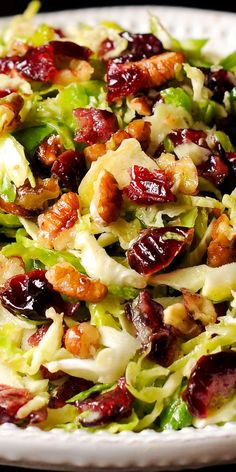 This delicious Honey Mustard Brussels Sprout Salad with Cranberries and Pecans is all about crisp Brussels sprouts tossed with honey mustard vinaigrette. Healthy Salad Recipes, Vegetable Recipes, Vegetarian Recipes, Cooking Recipes, Vegetable Salads, Chopped Salad Recipes, Vegetarian Salad, Clean Eating, Healthy Eating