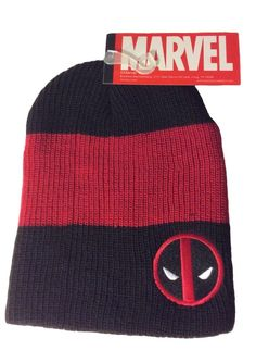 f312ed86dd3 Marvel Deadpool Patch Red and Black Slouch Beanie Knit Hat New With Tags   Marvel