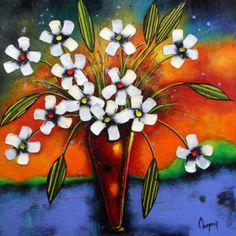Bleu nuit, Danielle Champoux  #Art #Artwork #Artist #painting #painter #Peinture #peintre #Flowers #Fleurs #nature #HomeDecor #Quebec #Canada Flower Artwork, Canada, Symbols, Painting, Colours, Artist, Flowers, Midnight Blue, How To Paint