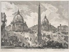Visitors from abroad entered the city of Rome through the Piazza del Popolo. The area acquired its monumental profile under Pope Sixtus V, who oversaw the construction of twin churches opposite the gateway into the square and the placement of an Egyptian obelisk in the center. In Piranesi's view, the obelisk extends almost from top to bottom of the composition, dwarfing the spectators gesturing beneath it and the coaches that circulate nearby.