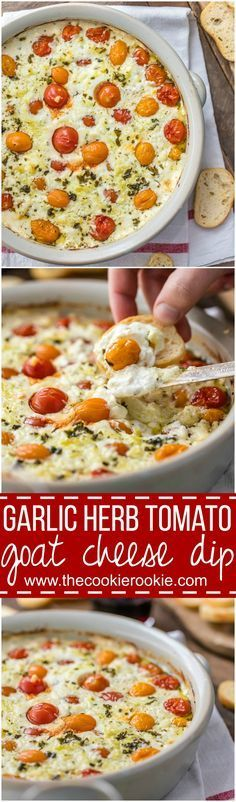 Garlic Herb Tomato Goat Cheese Dip is packed with tomatoes, garlic, feta, ricotta, and goat cheese. Go-to baked cheese appetizer. Cheese Appetizers, Appetizer Dips, Yummy Appetizers, Appetizer Recipes, Cheese Snacks, Easy Dinner Party Recipes, Tomato Appetizers, Cheese Food, Vegetarian Appetizers