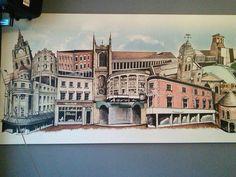 Derby landmarks on canvas