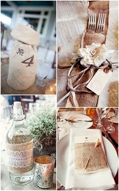 Perfect for that outdoor summer wedding!  burlap table decor ideas    #country #wedding #weddingideas