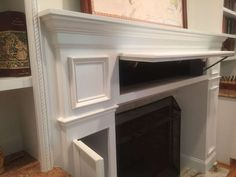 I've seen this in high end townhomes in my area. turn your fireplace or media built in shelving into hidden storage with Covert Concepts products of custom secret doors and stealth wall concealed storage Fireplace Redo, Fireplace Built Ins, Fireplace Remodel, Fireplace Mantle, Fireplace Surrounds, Fireplace Design, Fireplace Ideas, Tv Escondida, Basement Remodeling