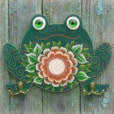 Купить Лягушка Интерьерное панно с крючками Роспись по дереву - точечная роспись, point-to-point