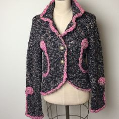 Gorgeous  jacket style sweater Fabulous multi color knit  button front 58% acrylic 36% wool 6% nylon One girl who Sweaters